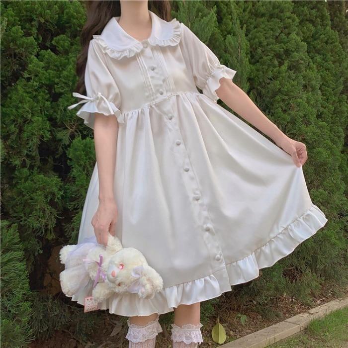 Lolita Daily White Angel Japanese Sweet Retro Vintage Doll Collar Kawaii Girl Gothic Lolita Op Loli Cos White Dress