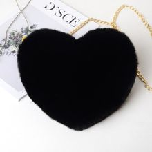 Heart Shaped Fur Purse Chain Shoulder Bag Handbag SF