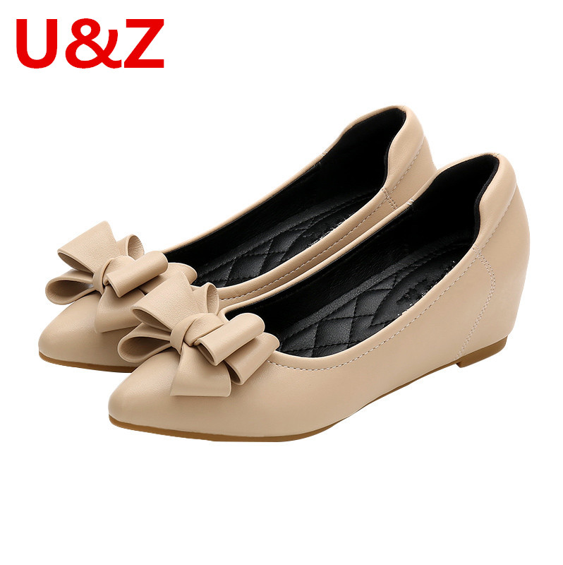 Lovely Pink/Apricot Soft Leather women 4cm pumps,Office Ladies must-have middle Heels Wedges Pumps elegant Bow Gray/Red shoes