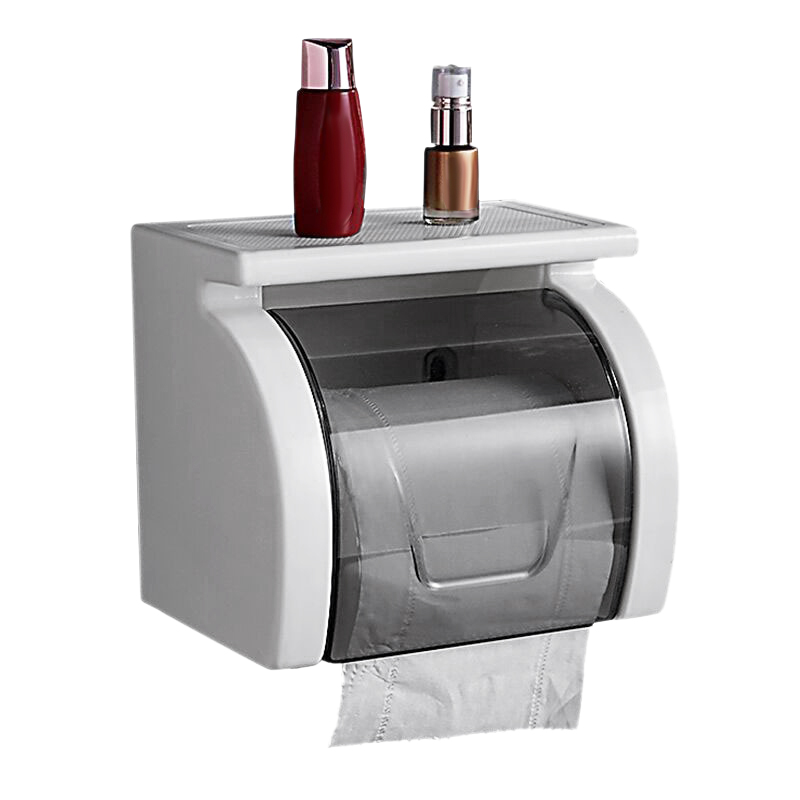 Easy Install Toilet Punch Free Paper Roll Holder Waterproof Bathroom Tissue Box With Garbage Bag