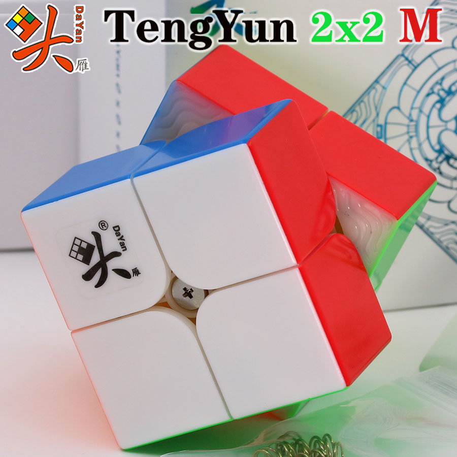 Magic Cube Puzzle DaYan Magnetic Cube TengYun 2X2X2 2x2 M Stickerless Magnet Professional Speed WCA Champion Competition Cube