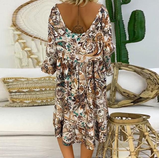 4# Women's Vintage Summer Dress Loose Plus Size Print Dresses V-neck Mini Dress Off Shoulder Dresses Ropa Mujer Beach Dress 3