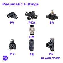 Ücretsiz kargo pnömatik uydurma tüp konektörü bağlantı parçaları hava hızlı su boru itme hortum hızlı bağlantı PU PY PE PV SA PM siyah