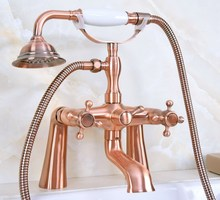 Bathroom Deck Mounted Shower Faucets Set Bathtub Faucet Water Mixer Tap Antique Red Copper with Hand Shower zna160 bathroom luxury golden brass deck mounted shower faucets set bathtub faucet water mixer tap with hand shower ztf086