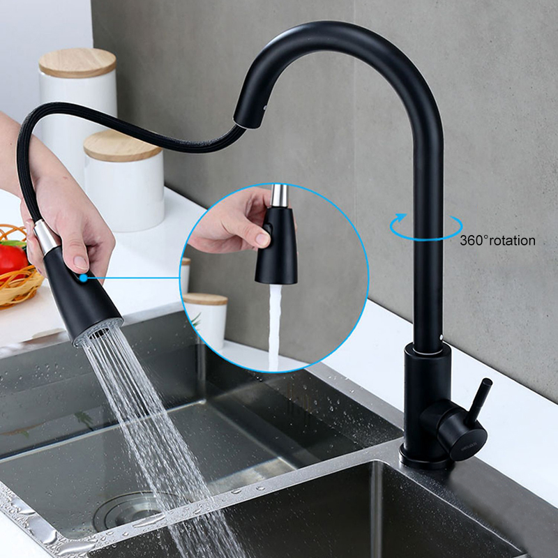 Kitchen Faucets Pull-down Kitchen Tap Stainless Steel Single Handle Sprayer Water Mixer Tap