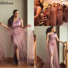 African Mermaid Bridesmaid Dresses One Shoulder Side Split Plus Size Wedding Guest Gowns Beach Maid Of Honor Dress robes de demo