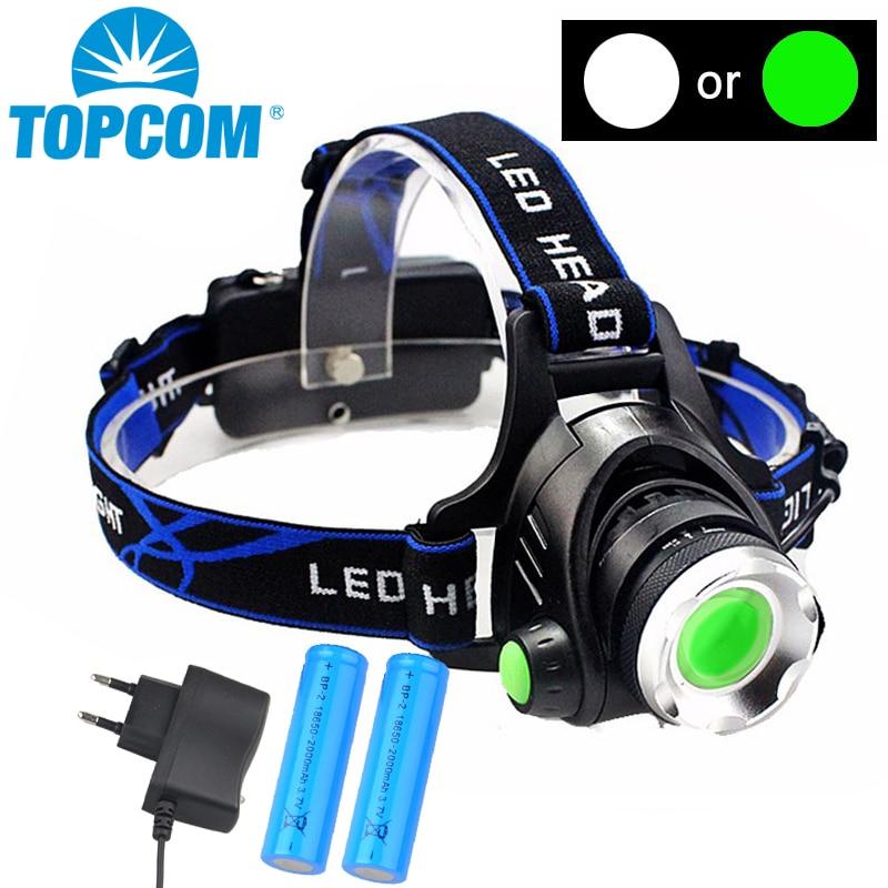 TOPCOM LED Headlamp USB Rechargeable 10W XML T6 Green Or White Light Head Torch Flashlight Lantern For Hunting