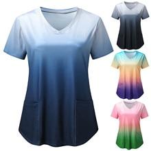 Summer Tie Dye Print Nursing Tops Pharmacy Spa Working Uniform Women Short Sleeve V-Neck Pockets Blouse медицинская одежда