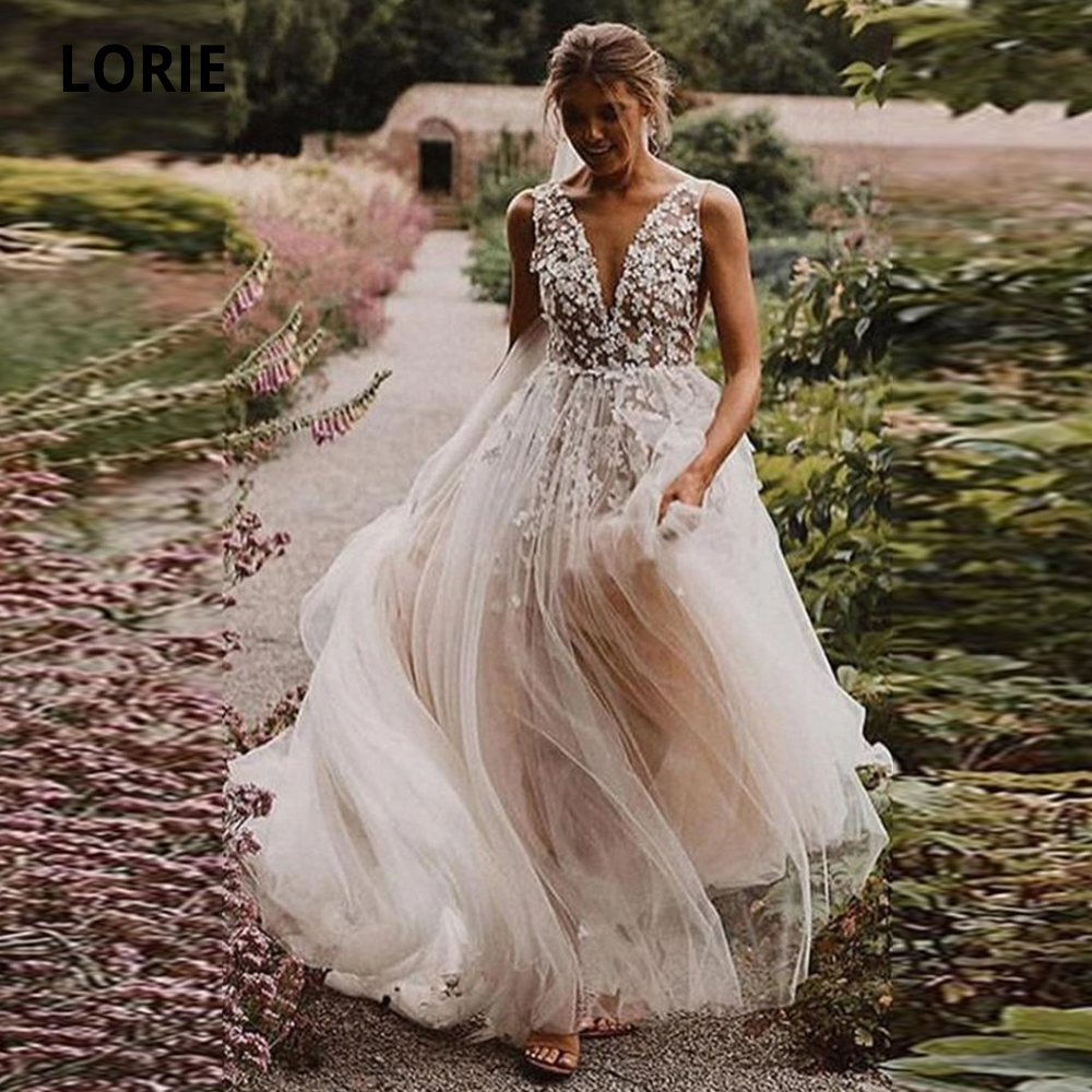 LORIE 2020 Tulle Wedding Dresses Boho A-line Bridal Gown V-neck Sleeveless Beach Wedding Gowns 3D Appliques Princess Party Dress