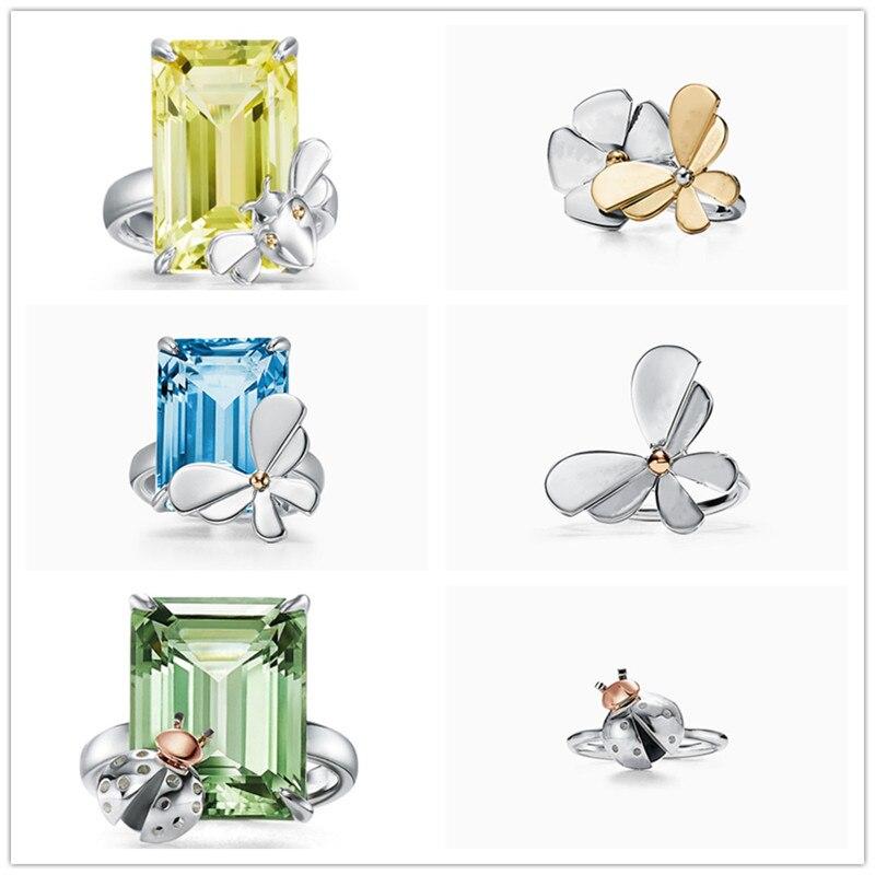 Luxe Original marque 1:1 925 argent Sterling Logo haute qualité bijoux femmes amour insecte anneaux de mariage saint valentin cadeau
