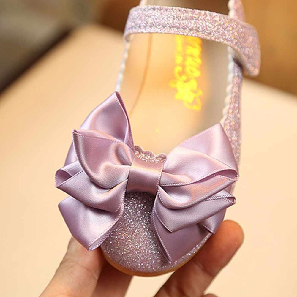 ใหม่ล่าสุดฤดูใบไม้ร่วงรองเท้าหนังเด็กเจ้าหญิง bowknot รองเท้าผ้าใบไข่มุกเพชรเดี่ยวรองเท้าเด็กรองเท้าเต้นรำ #911