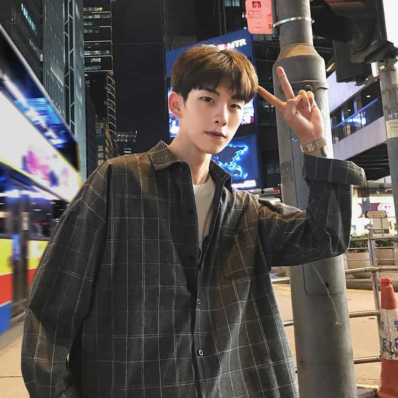 2019 nueva moda Corea estilo oversize Casual hombres Plaid camisa Streetwear camisa manga larga para hombre