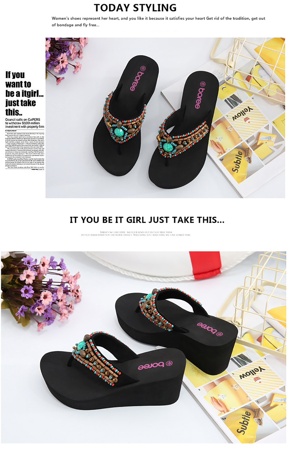 Boree 2020 Summer Flip Flops Slippers Womans Platform Shoes Female Beach Outdoor Slides Non-slip Sandals femme pantoufles