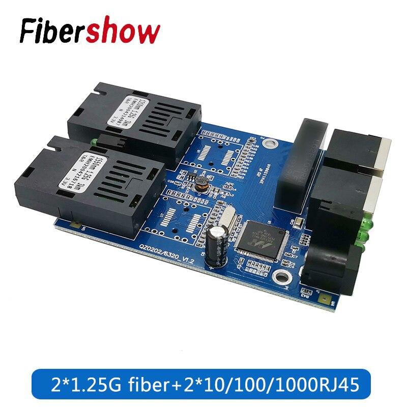 10/100/1000M Ethernet Fiber Switch 2 RJ45 UTP 2 SC Fiber Gigabit Fiber Optical Media Converter 2SC 2RJ45 Ethernet PCB