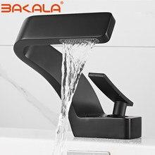 BAKALA Bad Deck Montiert Becken Wasserhahn Schwarz Waschbecken Wasserhahn Einzigen Loch Wasserhahn Heiße und Kalte mitigeur salle de bain mixer wasserhahn