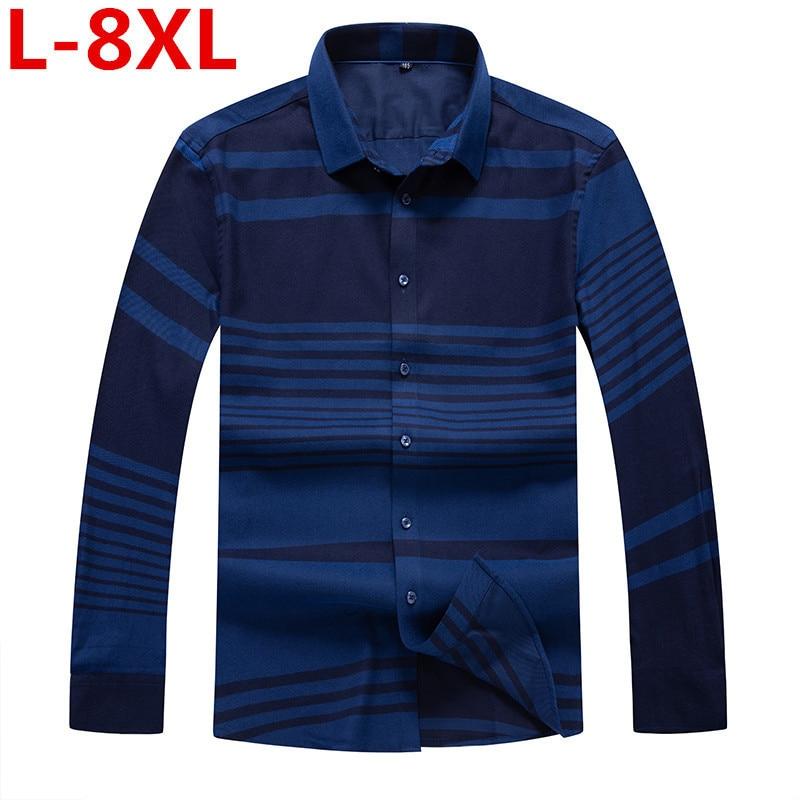 High Quality Plus Size 8XL 7XL 6XL 5XL 4X New Autumn Casual Shirts Men Striped Fashion Loose Fit Cotton Plus Size Brand Clothing