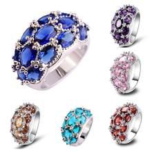 Lingmei anel de prata, anel de casamento chique nova moda aaa zircônia cúbica tamanho 6-10 11 12 13 joias encantadoras por atacado
