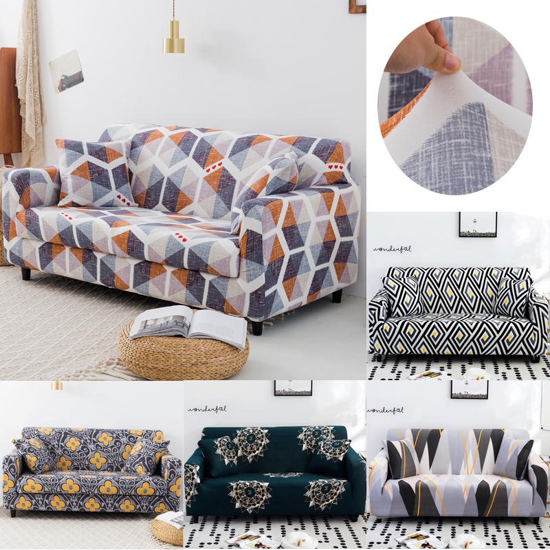 Geometic Printed Sofa Covers For Living Room Elastic Stretch Slipcover Furniture Protector Corner Sofa Covers
