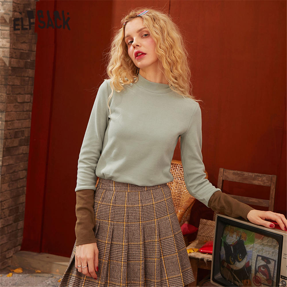 ELFSACK Black Colorblock Letter Print Women T Shirts 2020 Spring New Green Pure Stand Collar Long Sleeve Casual Ladies Basic Top