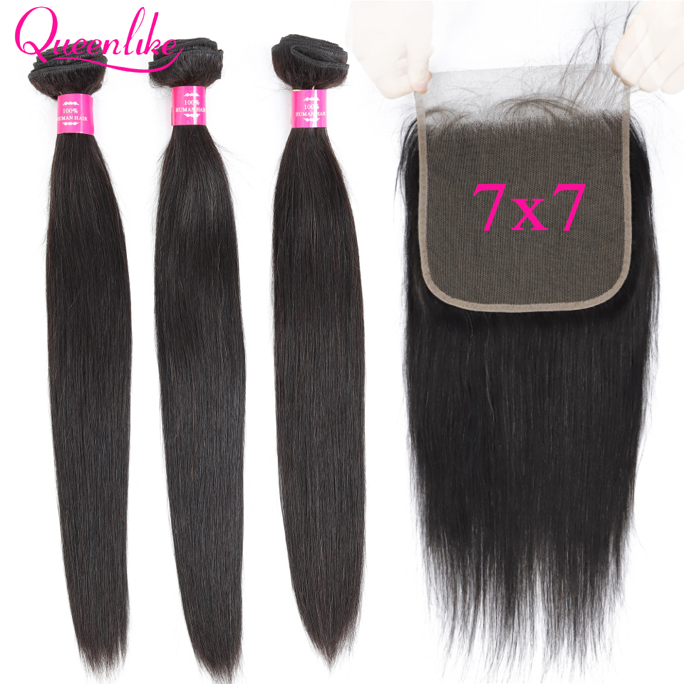 7x7 Lace Closure With Human Hair Bundles Queenlike Remy Weaving Big Lace 3 4 Brazilian Straight Hair Bundles With Closure