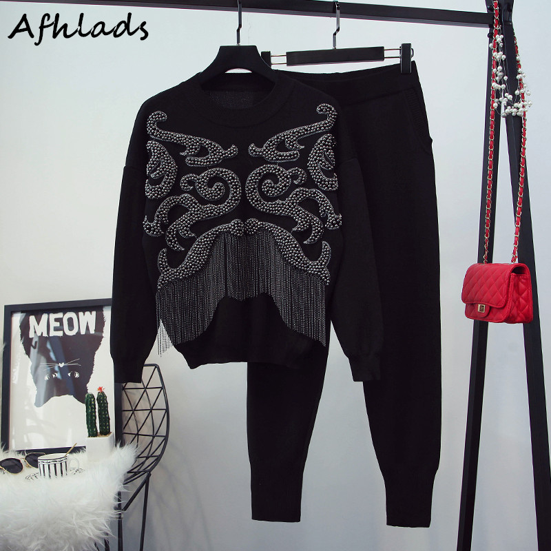 Spring New Women's Beaded Tassel Long Sleeve Round Neck Sweater Top + Casual Pants Fashion High Quality Two-Piece Set