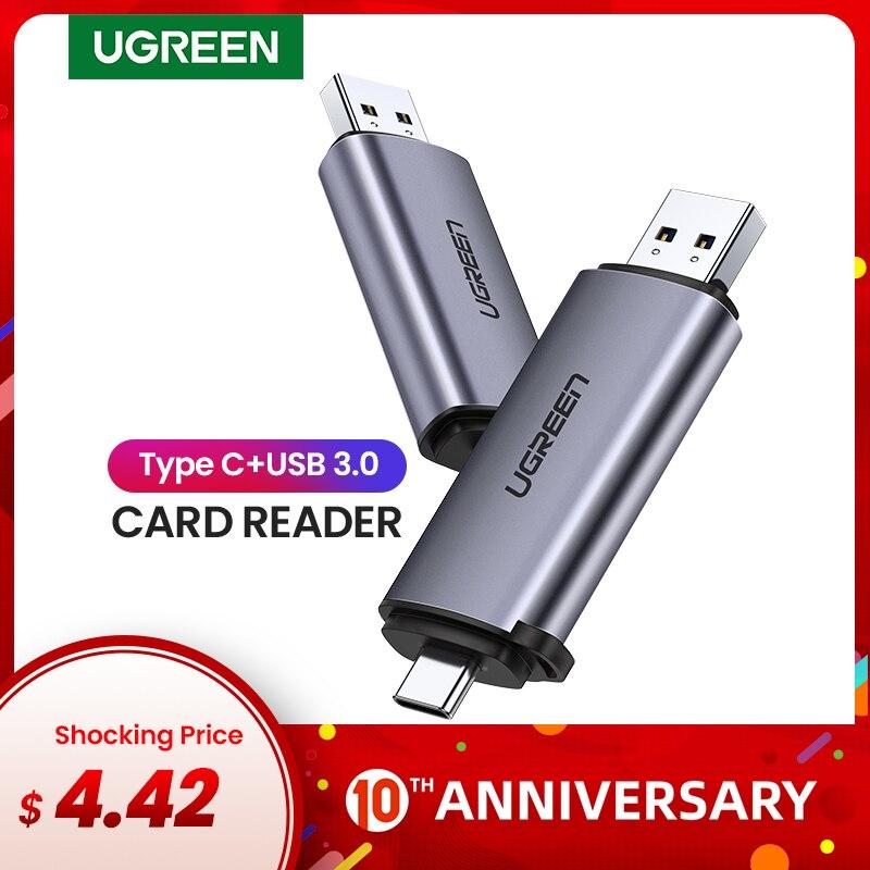 Leitor de cartão ugreen usb 3.0 tipo c para sd micro sd tf adaptador para acessórios do portátil otg cardreader leitor de cartão de memória inteligente sd
