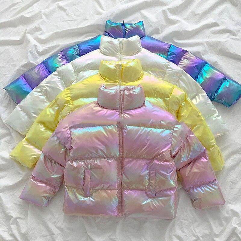 2020 baumwolle frauen Glänzend Winter Jacke Warme Unten Parkas Golssy Jacke Für Frauen Lackiert Jacke Frauen Wasserdichte Mantel
