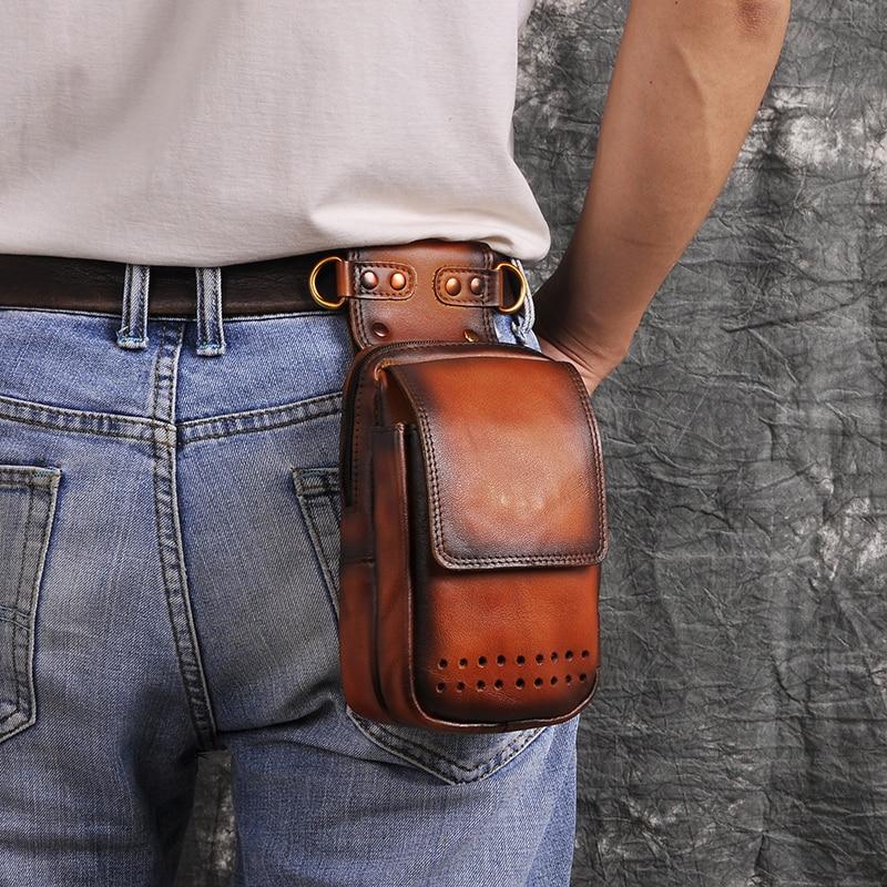 Fashion Original Leather Multifunction Small Pouch Hook Cross-body Bag Cigarette Case Phone Pouch Fanny Waist Belt Bag 832