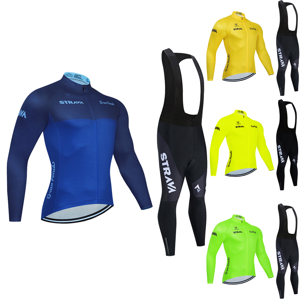 2020 Autumn Team STRAVA Cycling Jersey 20D Bib Set MTB Uniform Bicycle Clothing Quick Dry Bike Clothes Men long Cycling Wear