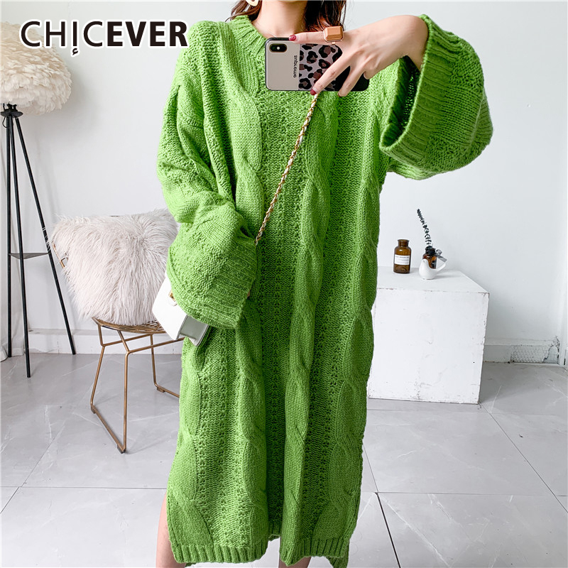 CHICEVER Hollow Out Knitting Dress For Women O Neck Long Sleeve Loose Oversize Side Split Female Dresses 2020 Autumn Fashion