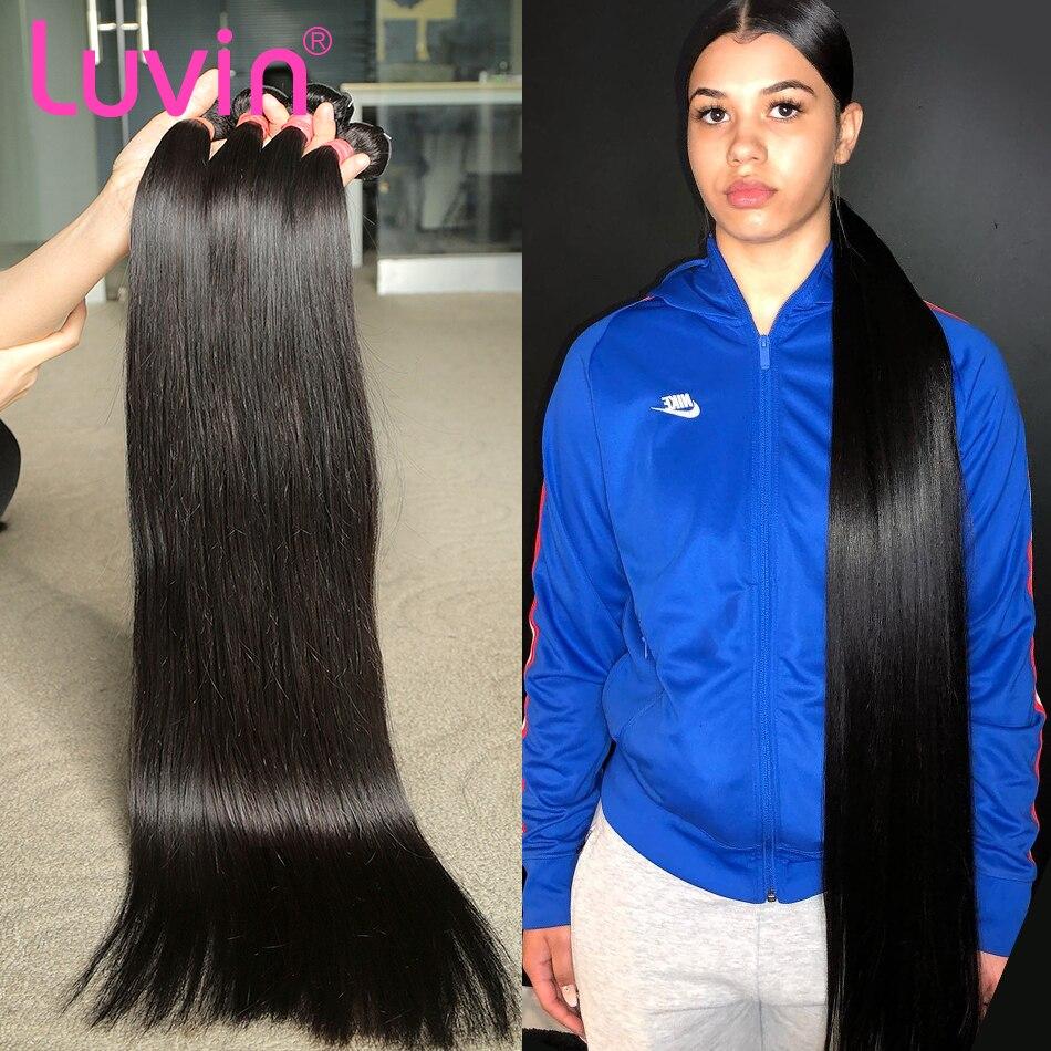 Luvin barato em linha reta 28 30 32 40 Polegada remy feixes de tecer cabelo brasileiro cor natural 100% feixes de cabelo humano duplo desenhado