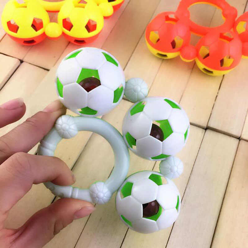 Plastic Small Football Soccer  Teether Appease Doll Toys Christmas New Year Gifts Newborn Baby Grasp Training Hand Bell Rattles