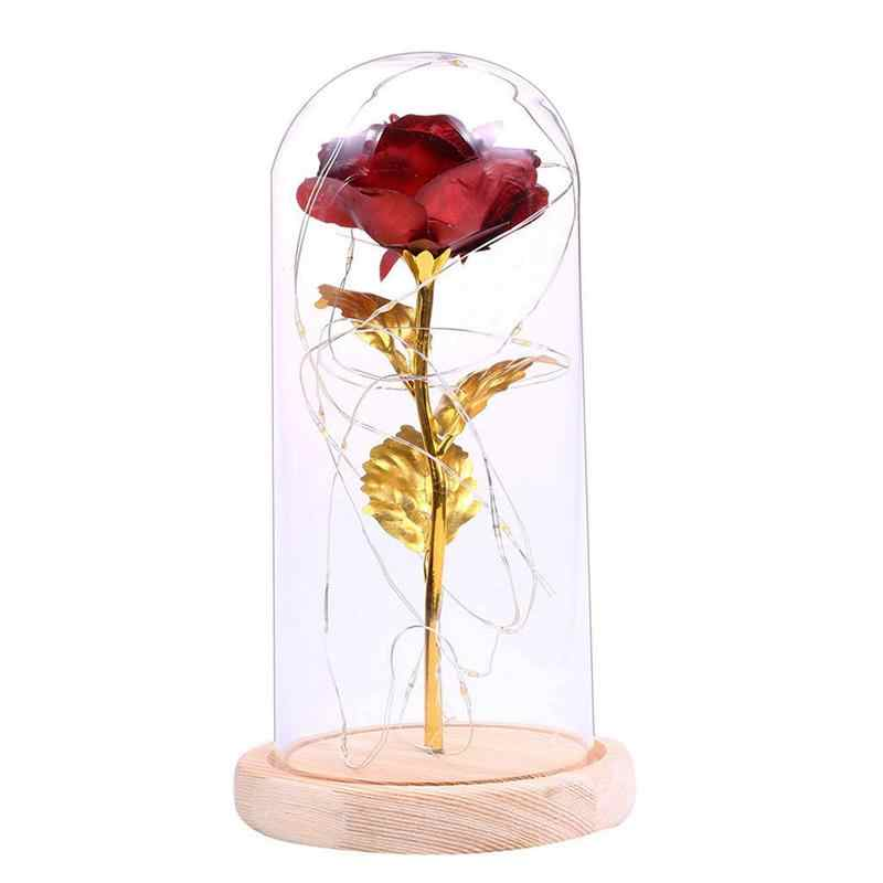 LED Night Light Rose Glass Cover Decoration Lights Holiday Gifts No Battery Included(Dark Red)