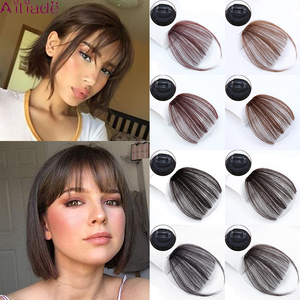 AILIADE Straight Light brown Dark brown Blunt Air Bangs Front Hair Fringes bangs Clip in Neat Women Fringes 1 clip Hairpieces