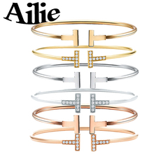 Ailey original high quality 100% 925 sterling silver double T bracelet rose gold classic Jane fashion lady jewelry couple gift