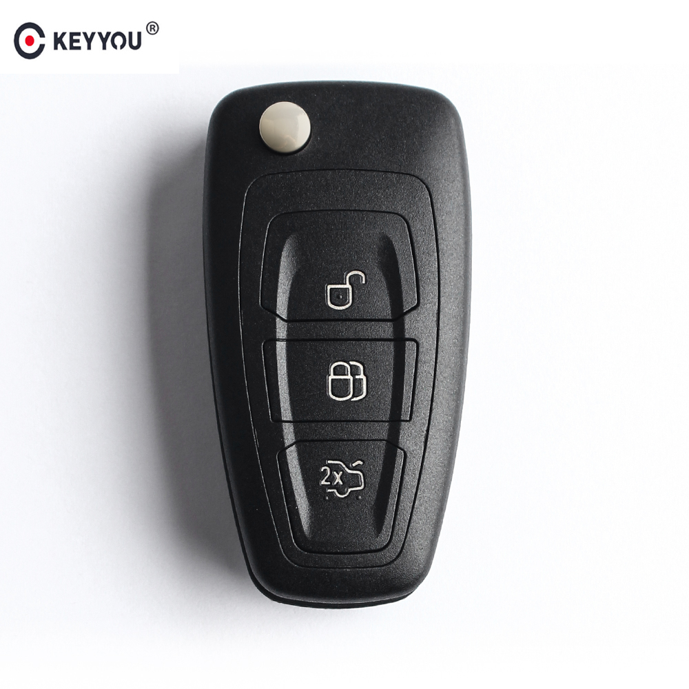 KEYYOU Flip Folding <font><b>Remote</b></font> <font><b>Key</b></font> Shell Car <font><b>Key</b></font> Cover 3 Buttons <font><b>For</b></font> <font><b>Ford</b></font> <font><b>Focus</b></font> Mondeo Fiesta 2013 Fob Auto Case With HU101 Blade image