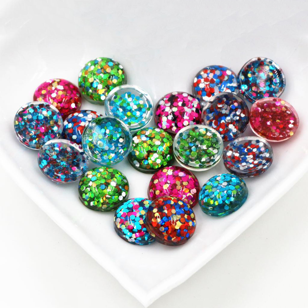 40pcs 12mm New Fashion Mix And Mix Color Flat Back Resin Cabochons Cameo