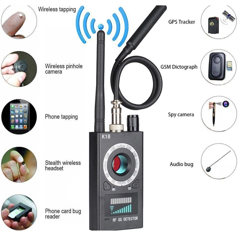 K18 Multi-function Anti Detector Camera GSM Audio Bug Finder GPS Signal Lens RF Tracker Detect Wireless Products 1MHz-6.5GHz R60