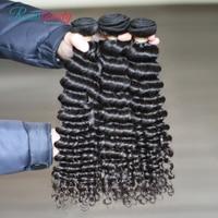 "Rosabeauty 8"" 28 "" Deep Wave Virgin Hair Malaysian Curly Human Hair Weave Bundles 30Inch Bundles Natural Color Hair Extensions"
