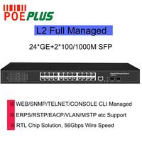 L2 Full managed gigabit network switch 24 ports with 2SFP optical fiber ports SNMP/ERPS RING supporting