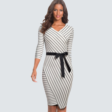 ARiby Women Sheath Striped Fashion Dress 2019 Autumn New Office Lady Slimming Seven-point Sleeve O-Neck Bow Sashes Pencil