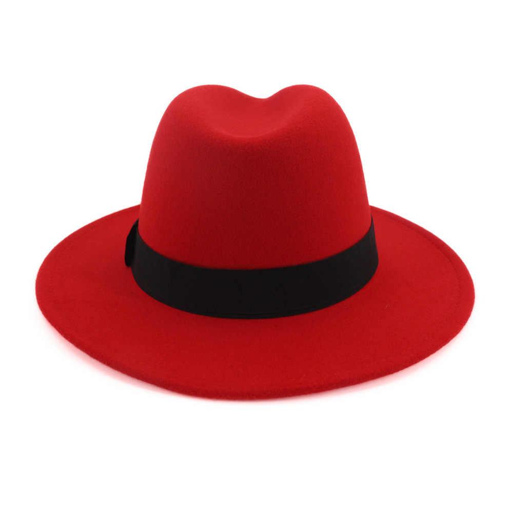 ZLD invierno otoño imitación de lana mujeres señoras Fedora Top rojo y negro empalme Jazz sombrero Europeo Americano redondo Cap Bowler sombrero