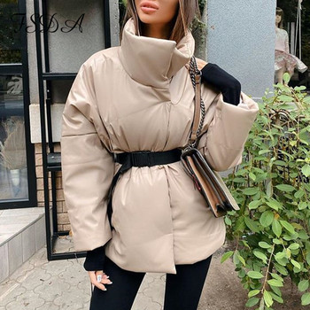 FSDA Autumn Winter Women Coat Jacket Parkas Warm With Belt Casual 2020 Loose Pocket Bubble Khaki Sashes Short Jackets Thick