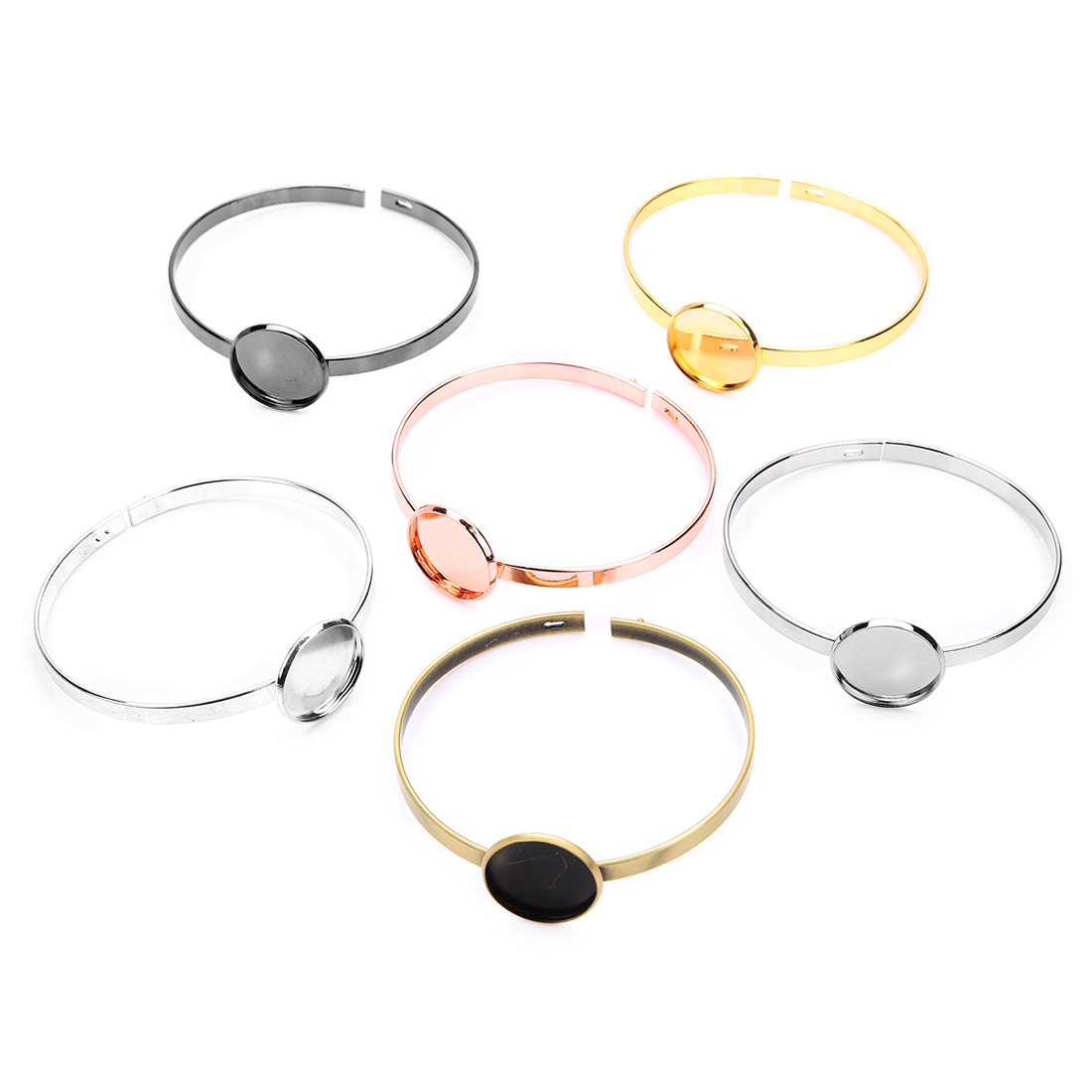 XINYAO 2pcs/lot Simple Buckle Copper 60mm Bracelet 20mm Tray Golden Silver Rose Gold Rhodium Bracelet For DIY Jewelry Findings