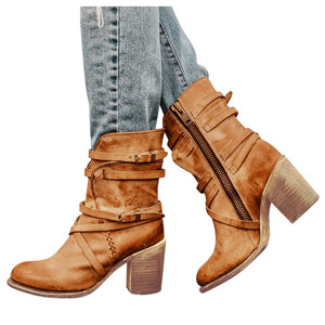 winter boots women size 43 Ladies Retro Square Heels Ziper Casual Shoes Rome snow boots women waterproof botines mujer 2019#3(China)
