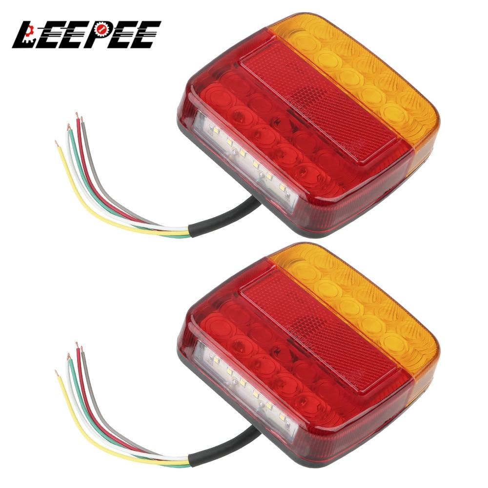 Sinal de volta indicador 26 leds luz da cauda número placa luz 1 par traseiro reverso freio parar lâmpada reboque caminhão caravana lanterna traseira