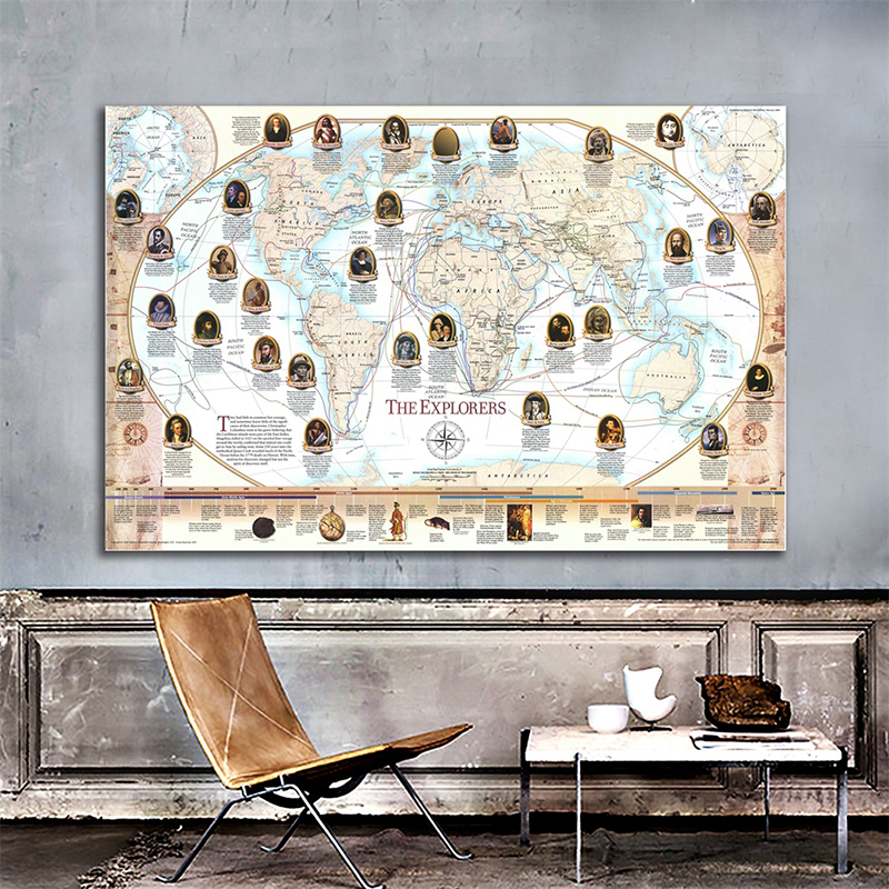 Map Of The World Wall Sticker 150x225cm Navigator And Explorer Non-woven Explorer Sailing Route Map For History Research