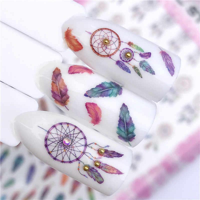 Dreamcatcher/Flamingo tasarımları su transferi Sticker Nail Art çıkartmaları DIY karikatür moda sarar İpuçları manikür araçları