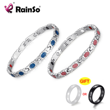rainso elegant stainless steel energy health magnetic bracelet with magnet rhinestones friendship bracelets for woman RainSo 2020 New Fashion Bracelet Women Magnetic FIR Therapy Stainless Steel Bracelets Femme Chain Pink Blue Accessories