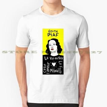 ¡Moda Pop! Camisetas de estilo Vintage con arte folclórico de superficies Piaf, arte popular francés de París, canciones musicales populares para cantantes y mujeres